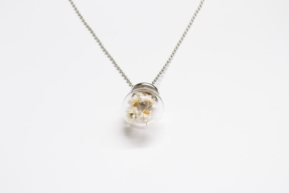 Glass Globe Dried Daisy Necklace