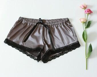 Violet Pajama Shorts, Satin Nightwear