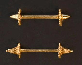 Gold Nipple Barbell- Nipple Piercing Jewelry- 17 Gauge- Nipple Bar- Straight Barbell- 22 Carat Solid Gold Body Piercing