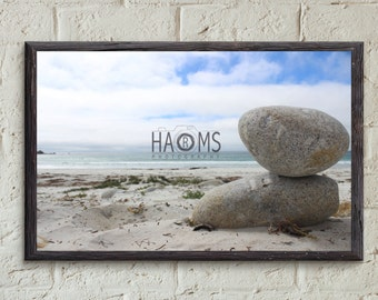 Stones on the beach in California, United States - poster