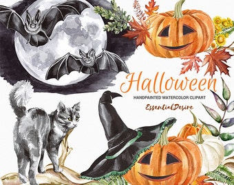 Watercolor Halloween clipart, Pumpkin Watercolor clipart, Bat Clip Art, Invite clipart, Black Cat, PNG files, Halloween, Hand Painted