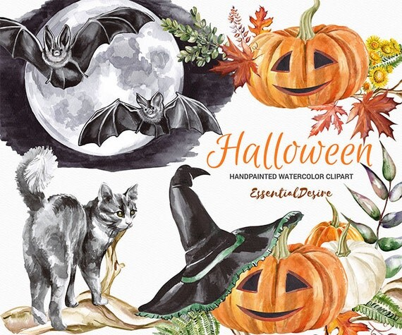 Watercolor Halloween clipart Pumpkin Watercolor clipart Bat