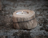 Wooden candle holder Reclaimed handmade Oak tree candle holder Rustic Woodland Weddings home decor OOAK
