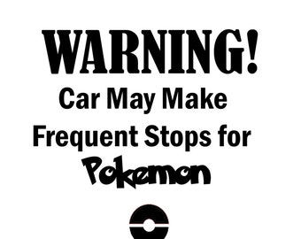 Warning Car Pokemon Decal