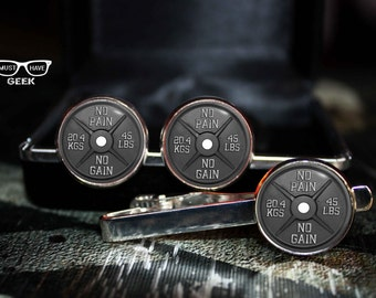 Barbell tie clip, No pain no gain tie clip, Bodybuilding motivator tie clip