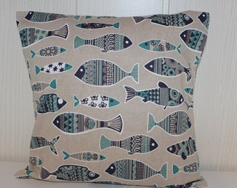 Cushion cover maritime - fish feasible blue/green all sizes 40 x 40 cm
