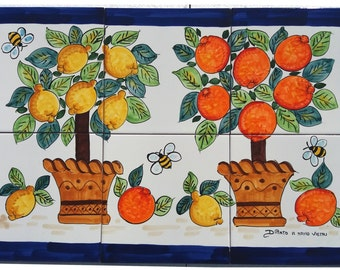 Lotto patchwork 32 piastrelle decorate a mano cucina vietri