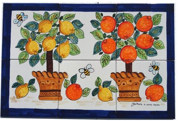 Pannello cucina ceramica di vietri mosaico mattonelle for Mattonelle mosaico cucina