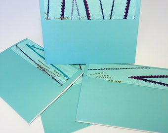 Teal Printed Blank Cards // Wax Print Greeting Cards // Blank Cards with Envelopes