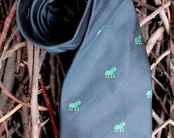 """Tie, unused - new, darkblue, elephant, """"LANCETTI"""""""