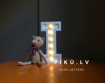 "I light letter, nightlight, wooden light letter ""I"""