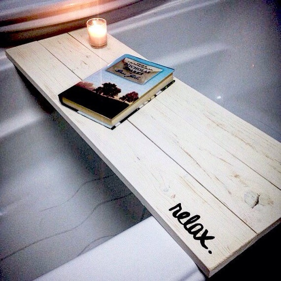 Bath tub tray caddy bath tray bath caddy by worrylesscraftmore for Bathroom decor tray