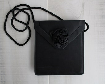 Black Satin Evening Bag with Rosette / Black Evening Bag / Evening Clutch / Evening Shoulder Bag