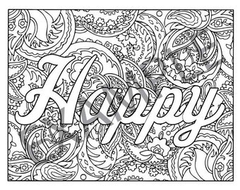 Happy Printable Adult Coloring Book Page Instant Downloadable JPG PDF Colouring Trendy Instagram Quirky Illustration Clip