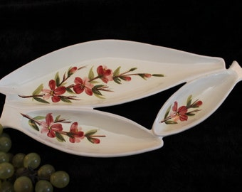 Vintage Italian Ceramic Three Compartment Fish Shaped Relish Serving Tray