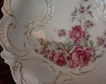 Antique Large Old Paris Porcelain Serving Bowl - Hand Painted Roses and Gold Scallops