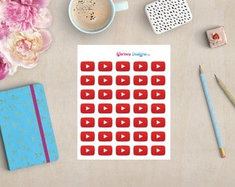 YouTube Planner Stickers, YouTube Icons, Social Media Stickers, Happy Planner, Erin Condren