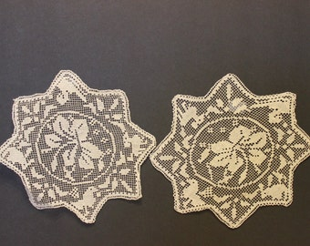 Hand Made Tatted Doilies, Vintage Doilies, Delicate In Size