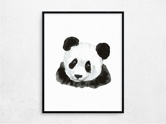 Items similar to salepanda wall art animal watercolor for Panda bear decor