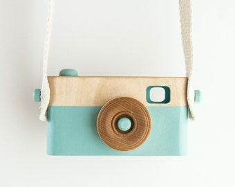 Wooden Toy Camera, Wooden Toys, Baby Birthday Gift, Toddler Birthday Gift, Light Blue