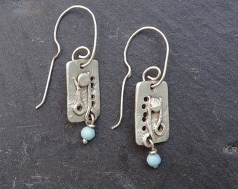 Unique Sterling Silver Earrings with 1960s Bead Drops