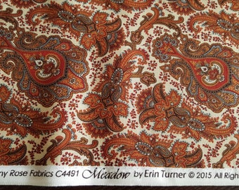 Penny Rose Meadow Fabric - Civil War Fabric - Red and Burnt Orange Paisley