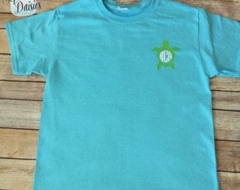 YOUTH Monogram Turtle Shirt - Youth Monogram - Youth Monogram T-Shirt - Youth T-Shirt - Personalized Kids Shirt- Custom Kids Clothing