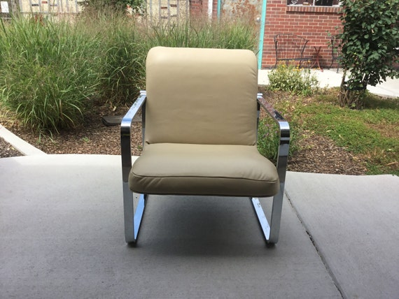 VINTAGE 1960'S Contemporary Chrome Chair with Real Leather