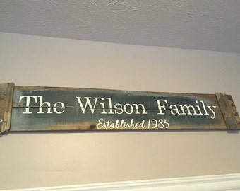 Large Family Name Sign - with Rustic Detailing