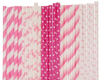 Paper Straw Mix, Pink Princess Paper Straws, Hot Pink 1st Birthday Party Straws, Pink Princess Party Paper Straws, Gender Reveal Party Decor