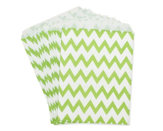 Party Favor Bag, Paper Favor Bags, Lime Green Chevron Favor Bags, Lime Wedding Favor, 1st Birthday Favor, Frog Party Decor, Garden Tea Party
