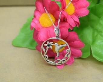 Sterling Silver Drinking Hummingbird Pendant with Chain