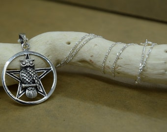 Sterling Silver Pentagram Owl Pendant with Chain