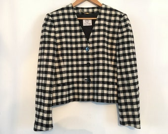 Womens Jacket VIYELLA Wool Blazer Short Coat Large Size Black and White Checkered
