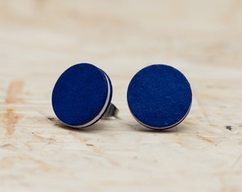 Dark blue and white paper studs - stainless steel - two sizes