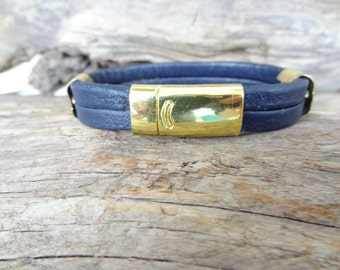 EXPRESS SHIPPING,Unisex Gold Bracelet, Navy Blue Leather Bracelet, Unisex Jewelry, Gold Magnet Clasp Bracelet,  Valentine's Gifts