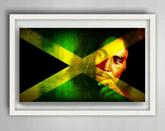 Jamaican Flag with Bob Marley Watermark