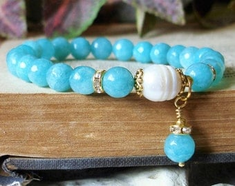 Aqua Amazonite Bracelet - Baroque Freshwater Pearl , Gemstone Stretch Bracelet,, Gifts from the Sea  C 568