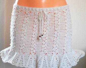 Crochet skirt, Beach hipster crochet skirt, Cotton crochet skirt, Summer clothes, Beachwear, Gift for her