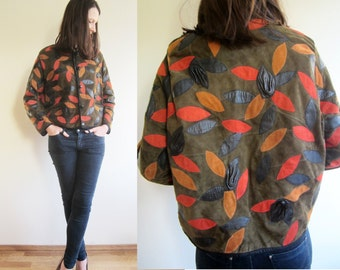 vintage Leather rose patchwork pattern jacket S M