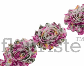 Shabby Rose Trim, Shabby Flower Trim, Shabby Flowers, Shabby wholesale, Shabby Trim, Chiffon flower, Shabby by yard, Floral 134