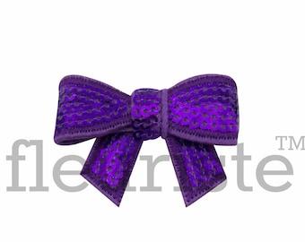 PURPLE 2 inch Sequin Bows, Mini Sequin Bows, Mini Bows, Shiny Bows, Fabric Bows, DIY Bows, Soft Bows, Wholesale Bows, Diy Headband