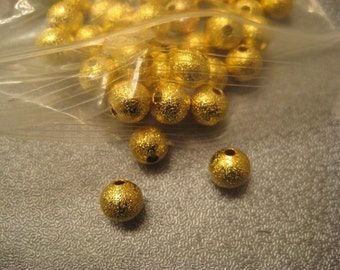 Gold Tone Stardust Ball Round Spacer Beads 8mm 150pcs