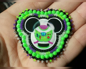 """Uniquely Stitched 2"""" Mickey Buzz Lightyear Beaded Pin"""
