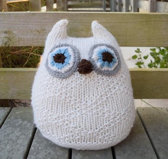 Big Owl Pillow Knit Owl Pillow Wool Pillow Big Stuffed by Knitneys