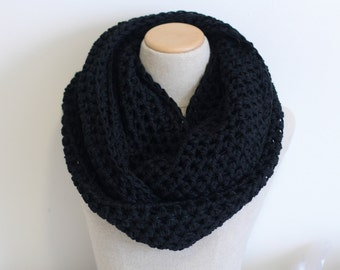 Black infinity scarf, vegan cowl, cruelty free,  circle scarf, tube scarf, knitted, crocheted, handmade, midnight, hypoallergenic