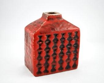 RARE Carstens Brasilia C-805 Red & Black Fat Lava vase - Heinz Siery