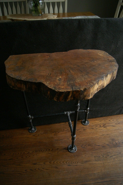 Natural Wood Side Table ~ Natural edge elm entry table live end slab wood