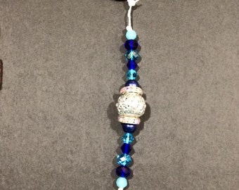 Blue and Silver Beaded Keyring