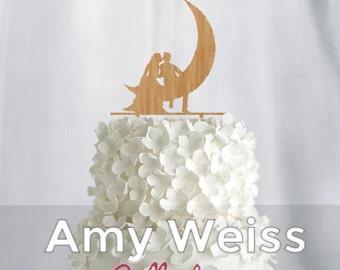 Wedding Cake Topper - Couple on moon- AW1073W